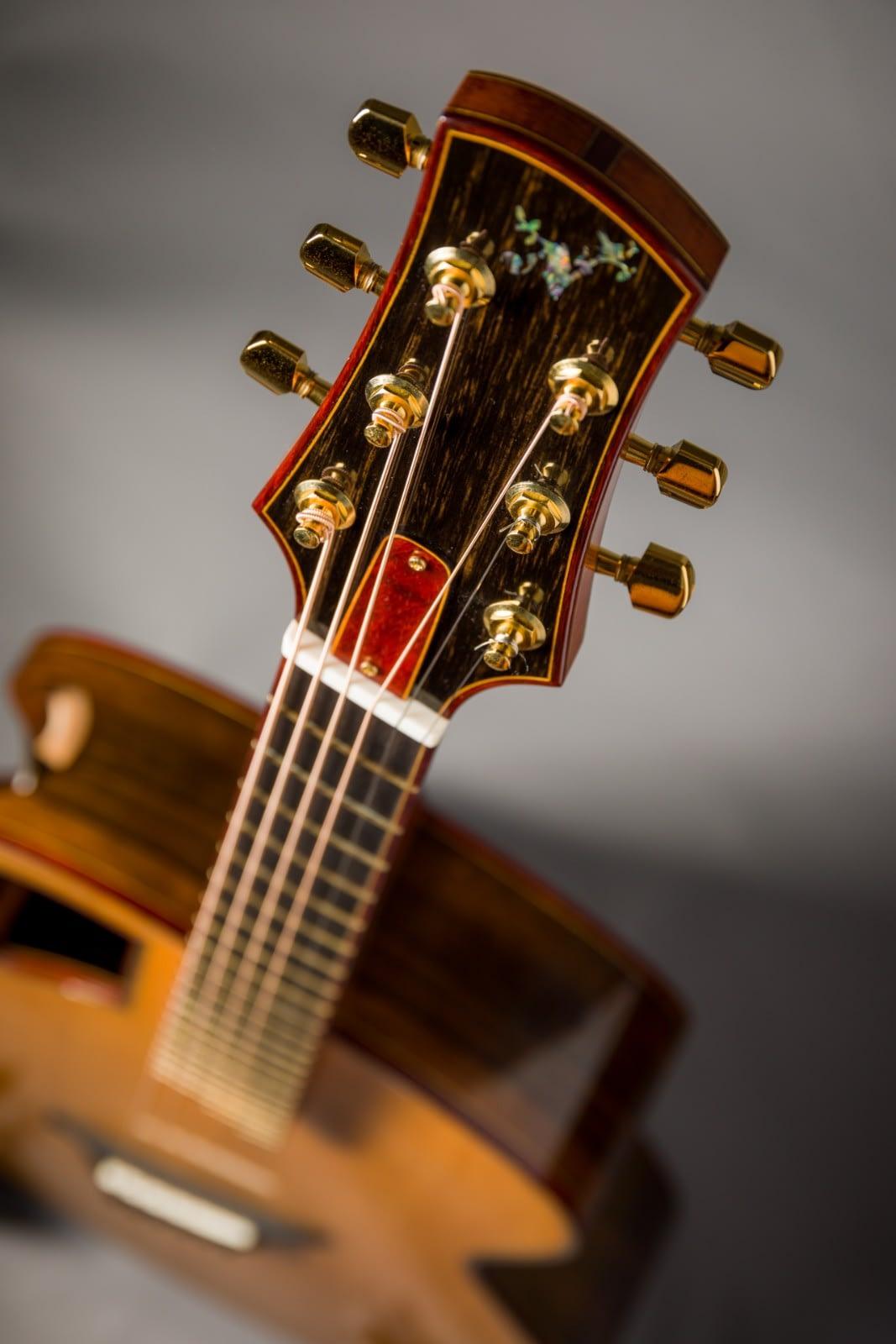 insight handmade guitar ebony headstock veneer abalone logo inlay padauk binding
