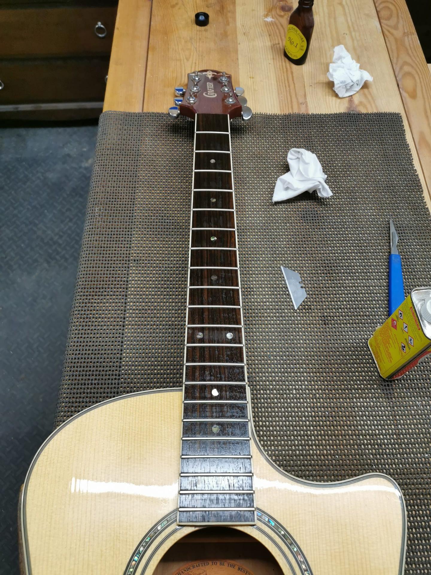 Fretboard Lemon Oil guitar repair stroud