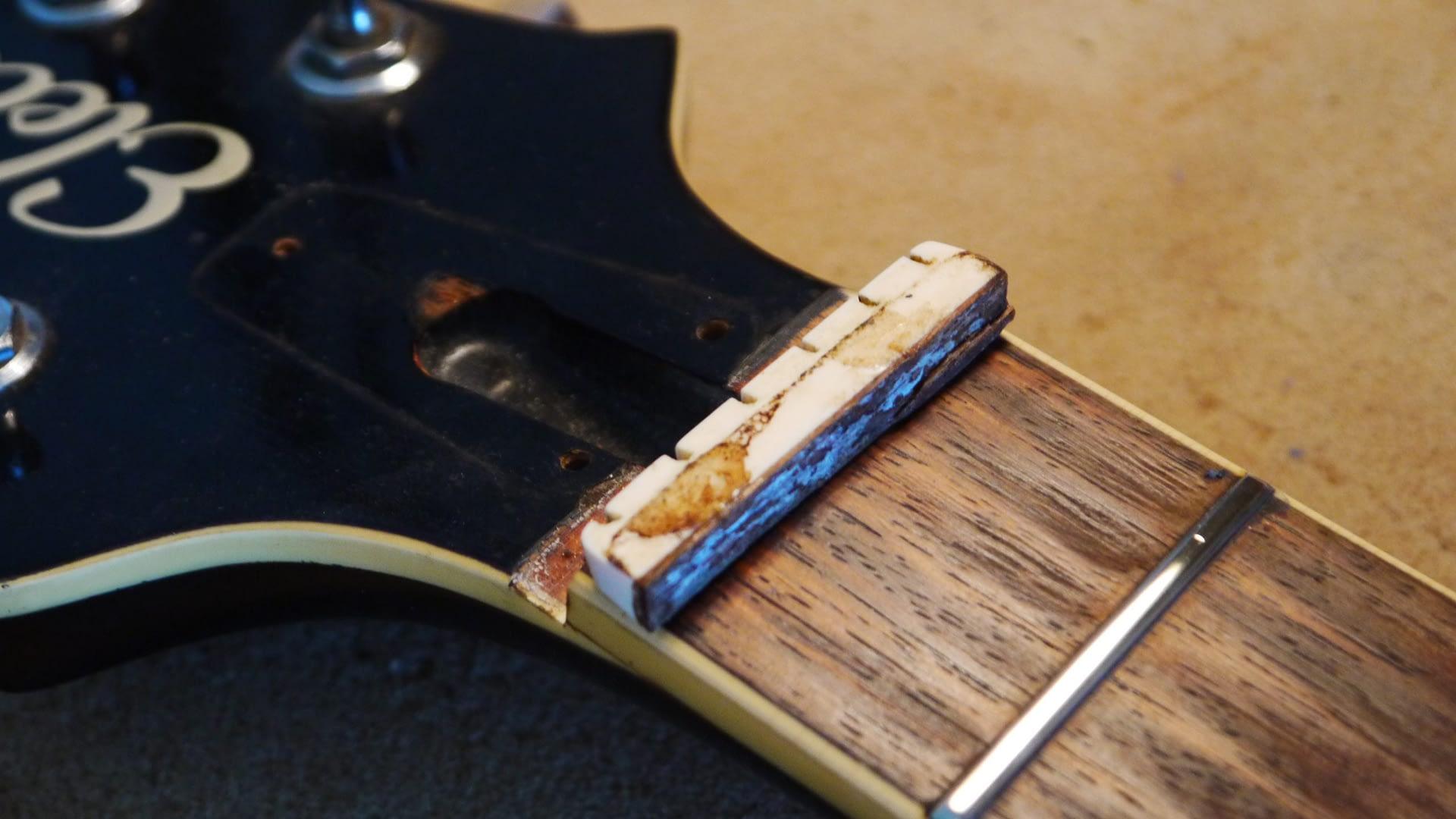 Removal of Old Nut guitar repair stroud