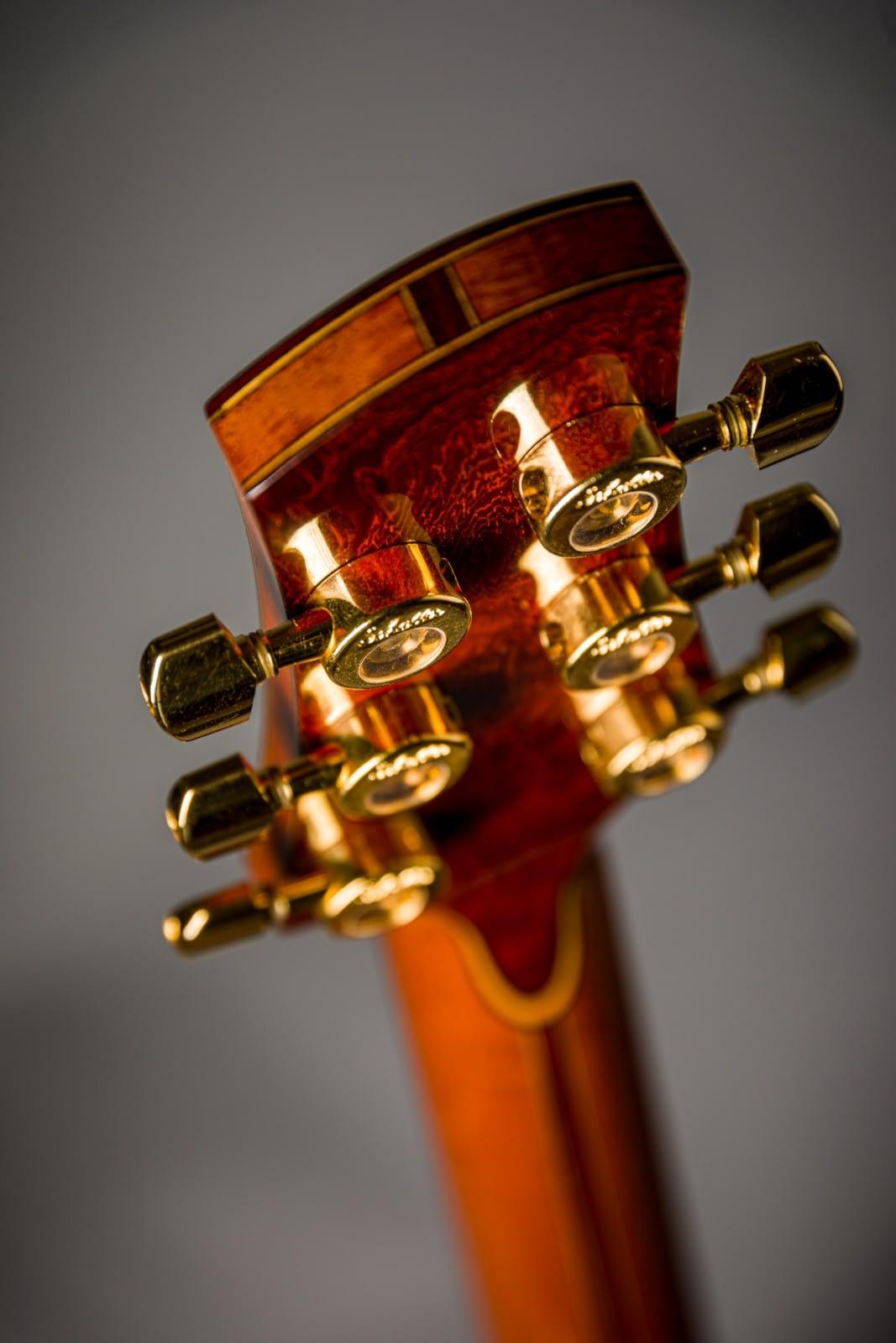 french polished padauk backstrap schaller da vinci machine heads handmade guitar insight