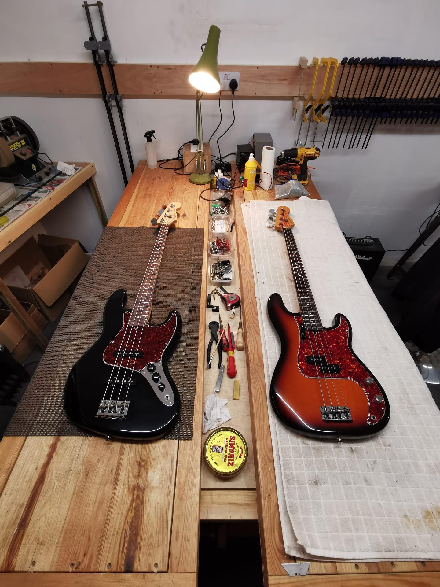 Pair of Fender Basses guitar repair stroud
