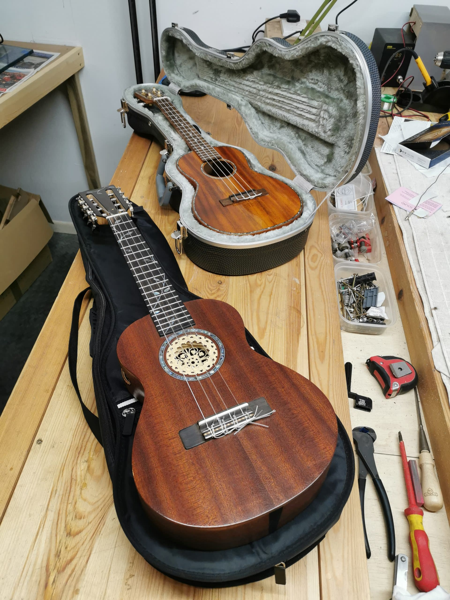 Pair of Handmade Ukuleles guitar repair stroud