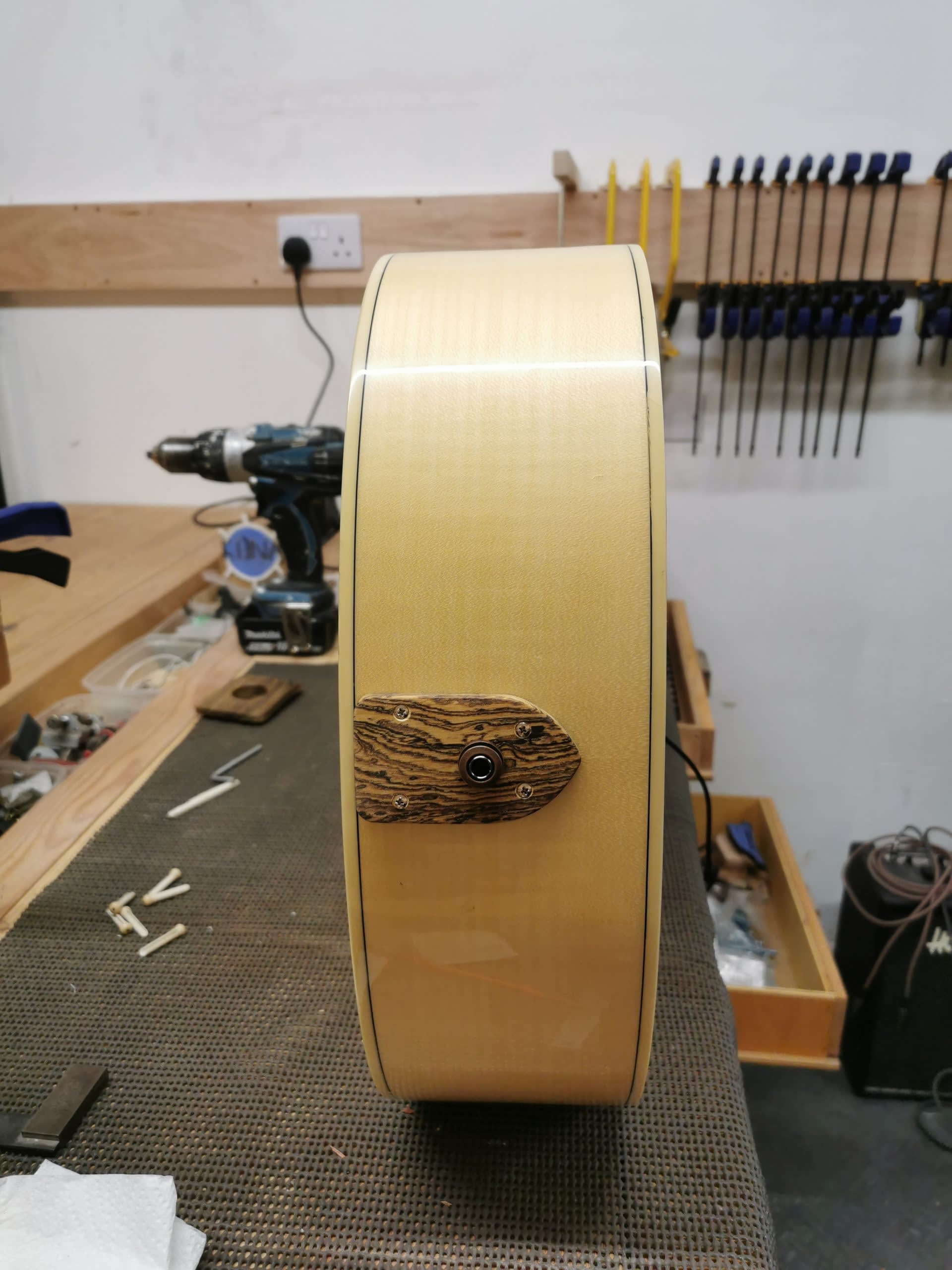 Battery Hole Plug and New Jack guitar repair stroud