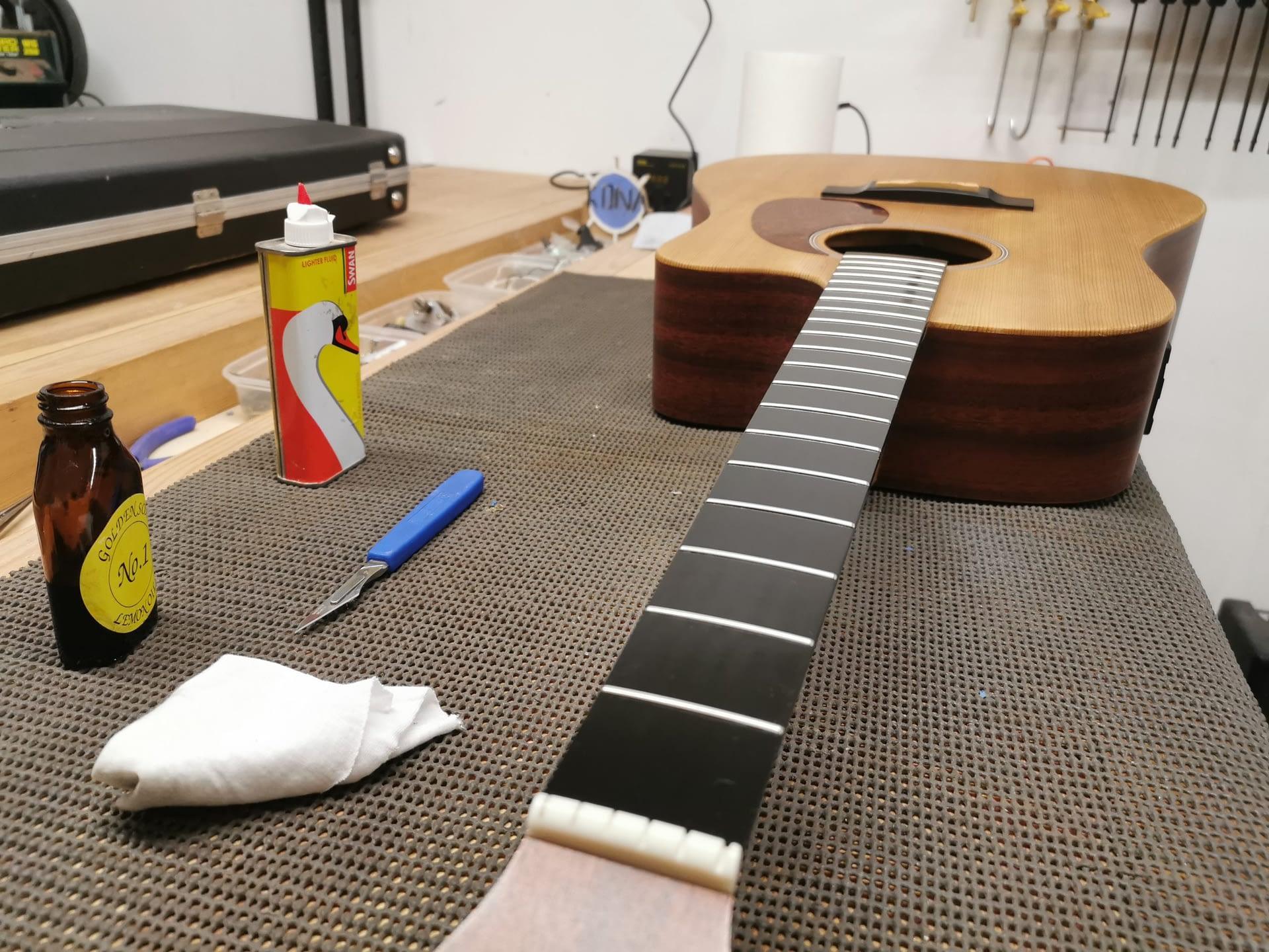 Lemon Oil for Martin Guitar Fretboard repair stroud