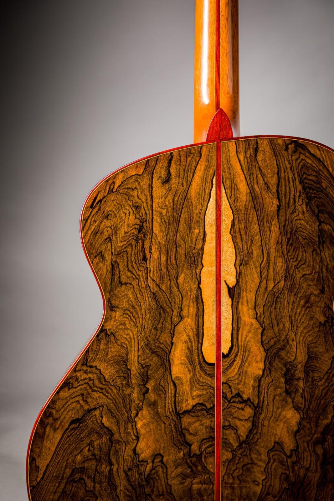 ziricote handmade guitar back asymmetric with sapwood insight padauk binding