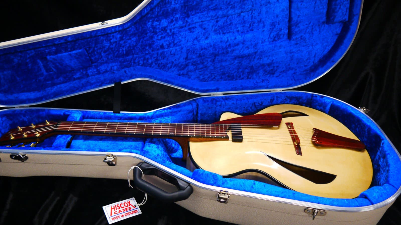 Handmade archtop cocobolo details ivory blue hiscox case