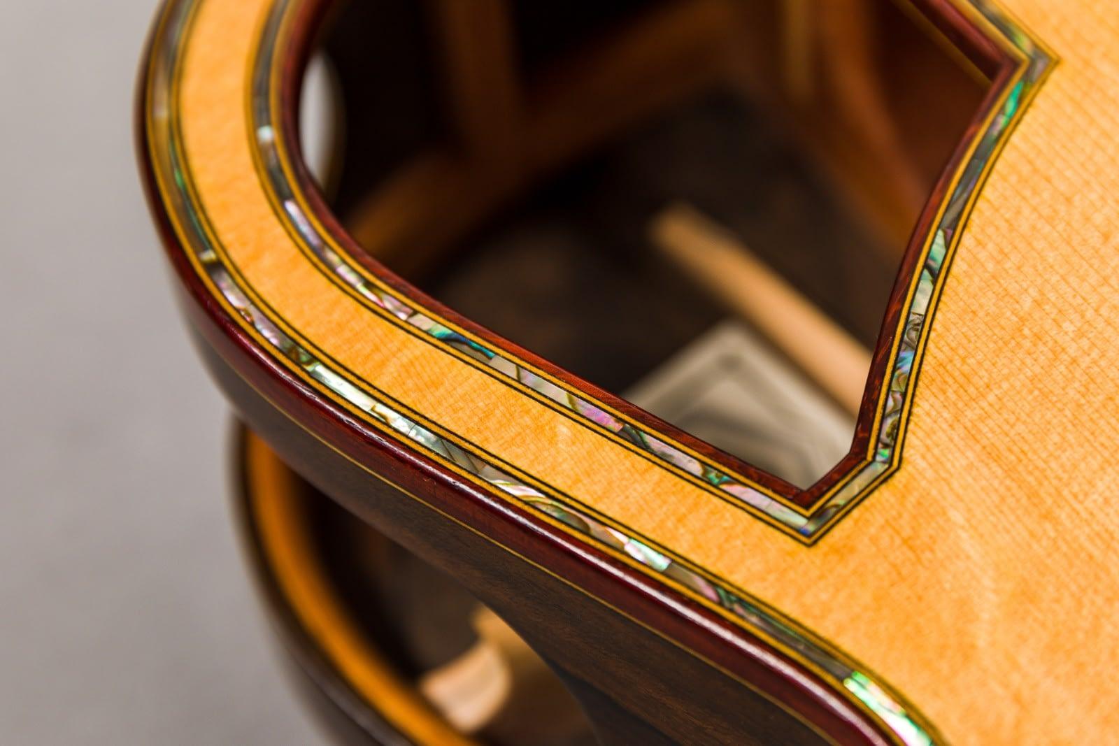 insight handmade steelstring guitar abalone sounhole purfling padauk binding