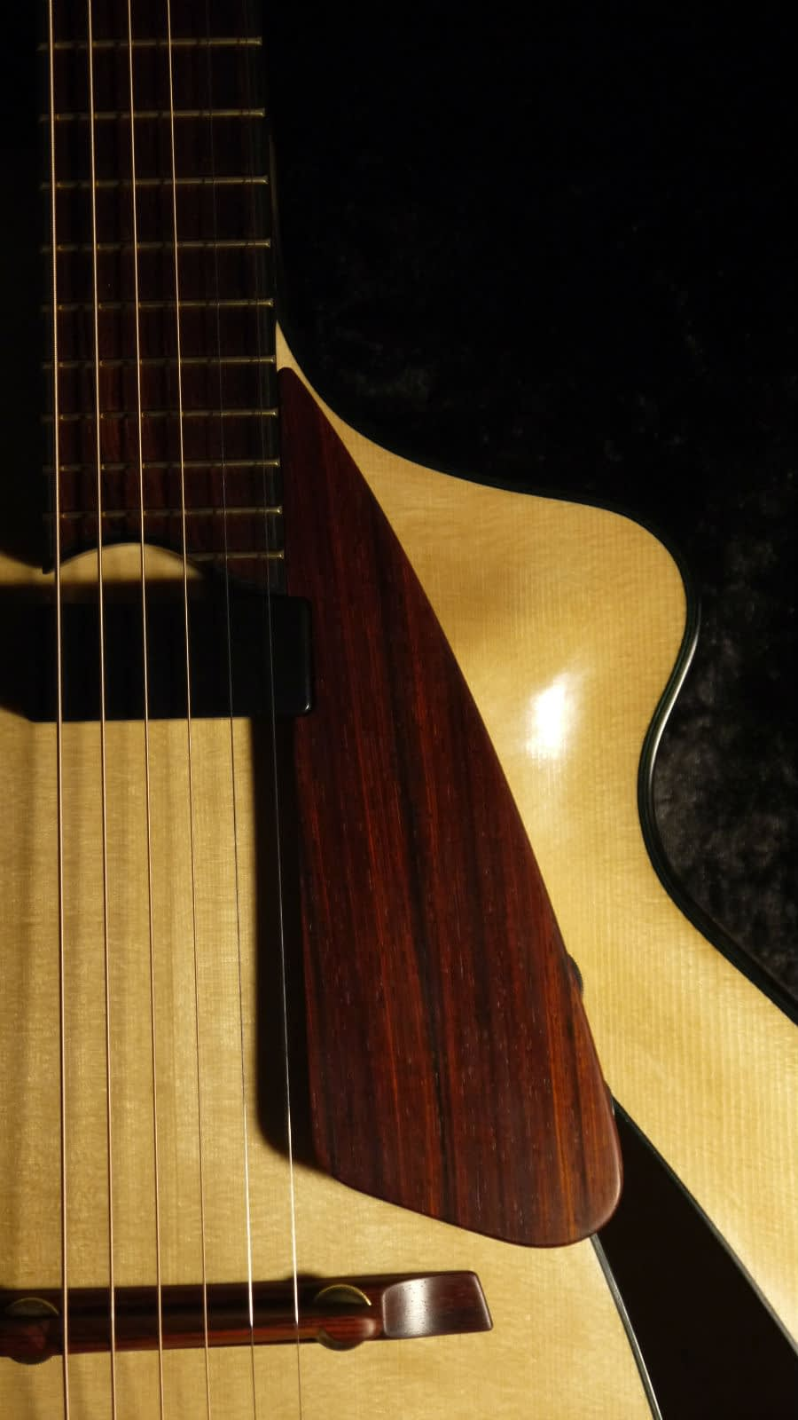 Handmade archtop cocobolo finger rest benedetto pickup