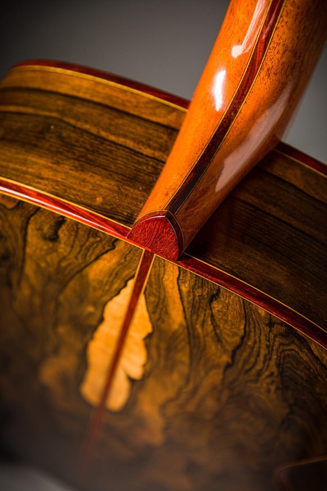 ziricote guitar back and sides padauk binding satinwood veneer laminated neck