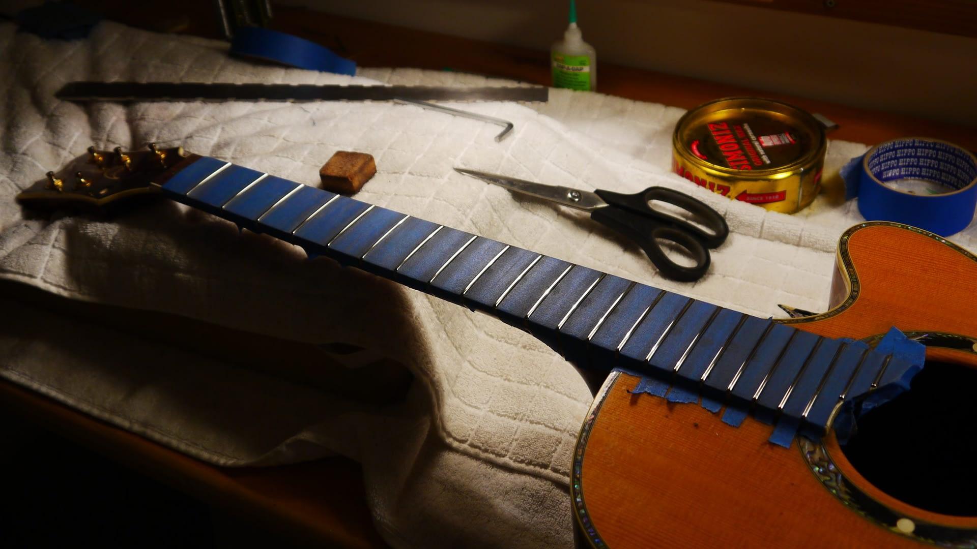 Polishing After Partial Refret guitar repair stroud