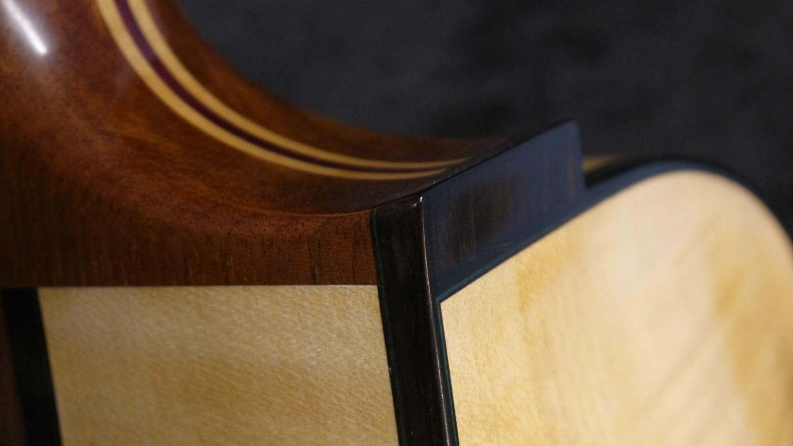 mahogany archtop guitar heel ebony heel cap green veneers purple hart